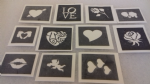 10 - 100 Valentine themed mini small stencils for etching on glass  Ideal for Fund raising,  hobby craft rose true love heart